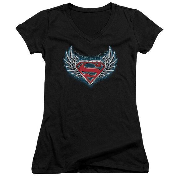 Superman Steel Wings Logo Junior V Neck T-Shirt