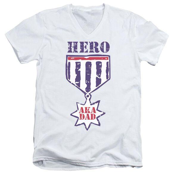 Hero Aka Dad Short Sleeve Adult V Neck T-Shirt