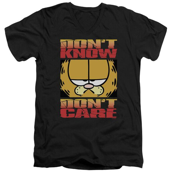 Garfield Dont Know Dont Care Short Sleeve Adult V Neck T-Shirt