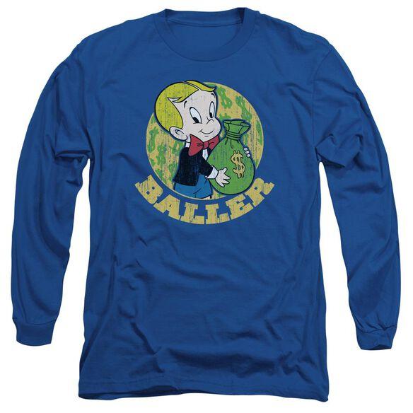 Richie Rich Baller Long Sleeve Adult Royal T-Shirt
