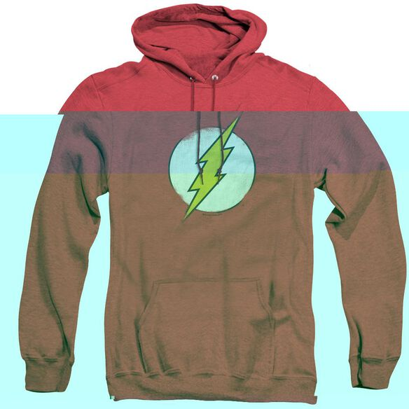Dc Flash Rough Flash Logo - Adult Heather Hoodie - Red