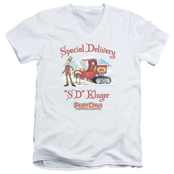 Santa Claus Is Comin To Town Kluger Short Sleeve Adult V Neck T-Shirt