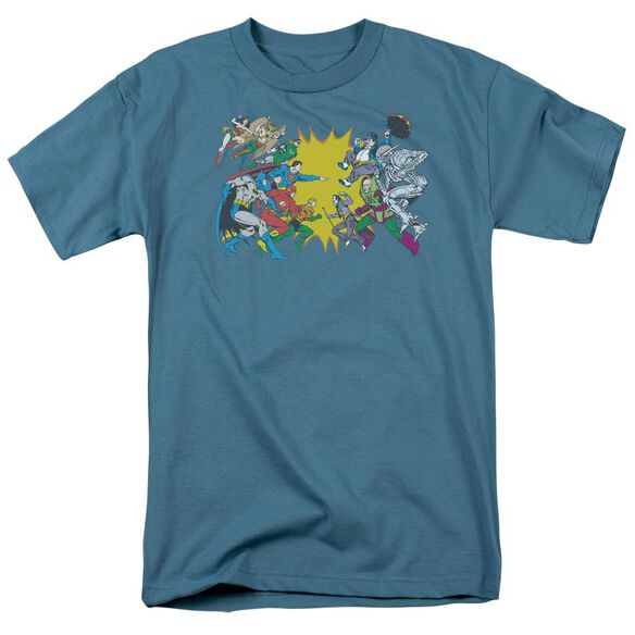 Dc Face Off Short Sleeve Adult Slate T-Shirt
