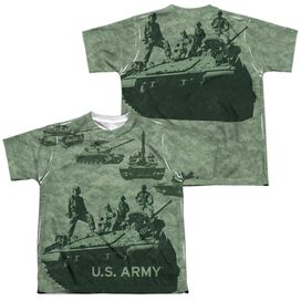 Army Tank Up (Front Back Print) Short Sleeve Youth Poly Crew T-Shirt