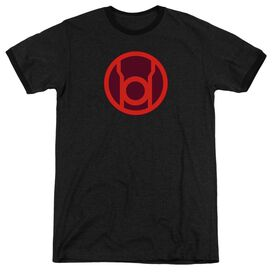 Green Lantern Red Symbol - Adult Heather Ringer - Black