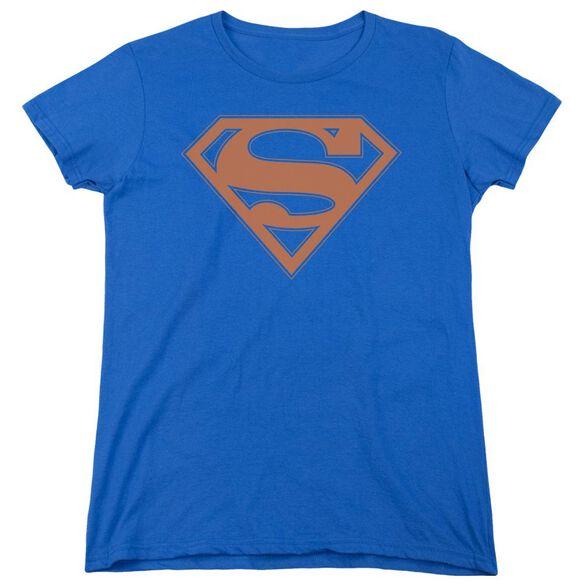 Superman & Orange Shield Short Sleeve Womens Tee Royal T-Shirt