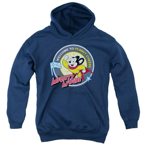 Mighty Mouse Planet Cheese Youth Pull Over Hoodie