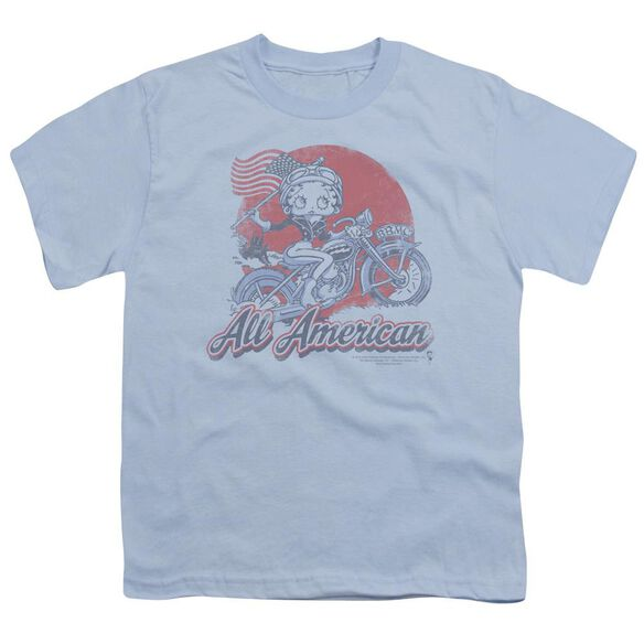 Betty Boop All American Biker Short Sleeve Youth Light T-Shirt