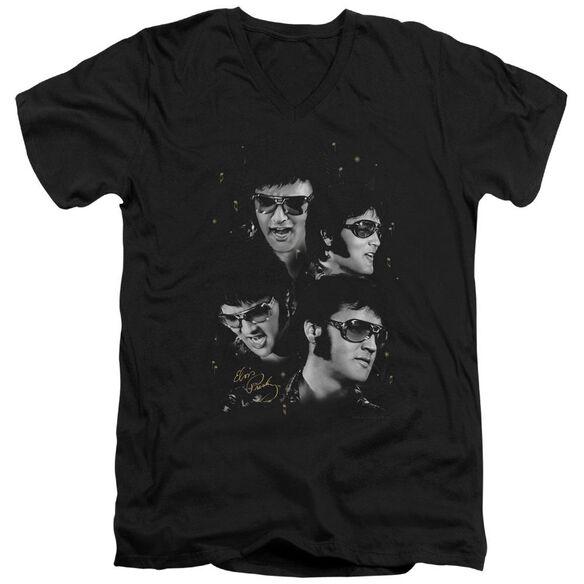 Elvis Faces Short Sleeve Adult V Neck T-Shirt