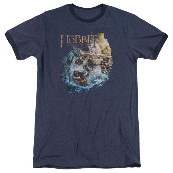 Hobbit Barreling Down Adult Heather Ringer Navy