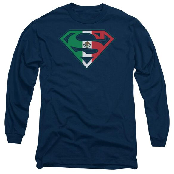Superman Mexican Shield Long Sleeve Adult T-Shirt