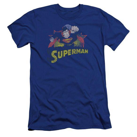 Jla Superman Rough Distress Premuim Canvas Adult Slim Fit Royal