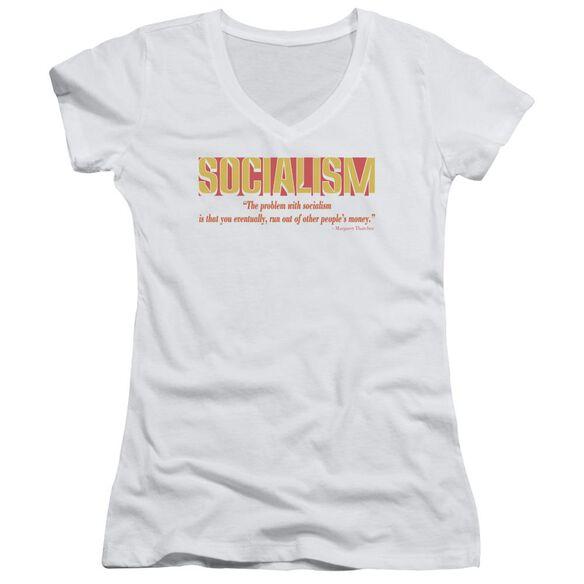 Problem With Socialism Junior V Neck T-Shirt
