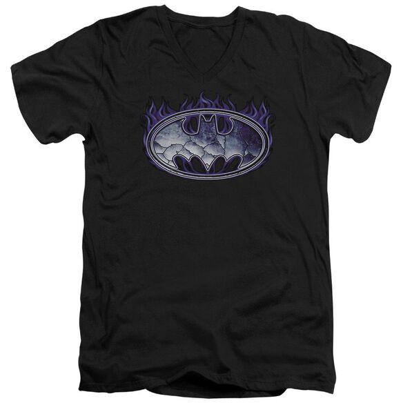 Batman Cracked Shield Short Sleeve Adult V Neck T-Shirt