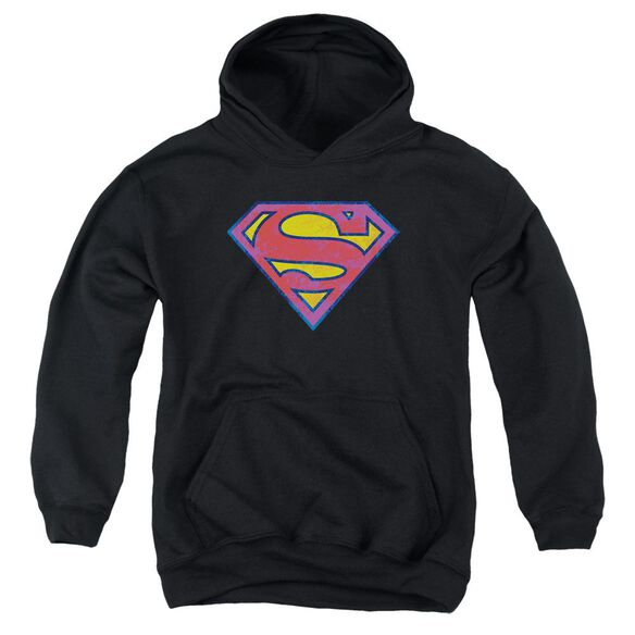 Superman Sm Neon Distress Logo Youth Pull Over Hoodie