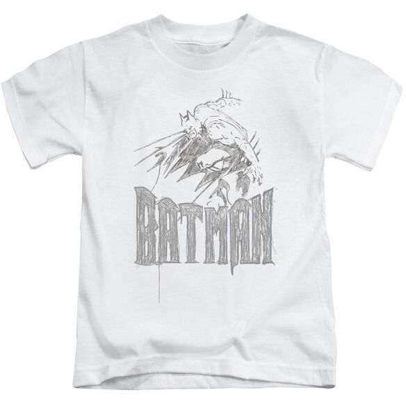 Batman Knight Sketch Short Sleeve Juvenile White T-Shirt