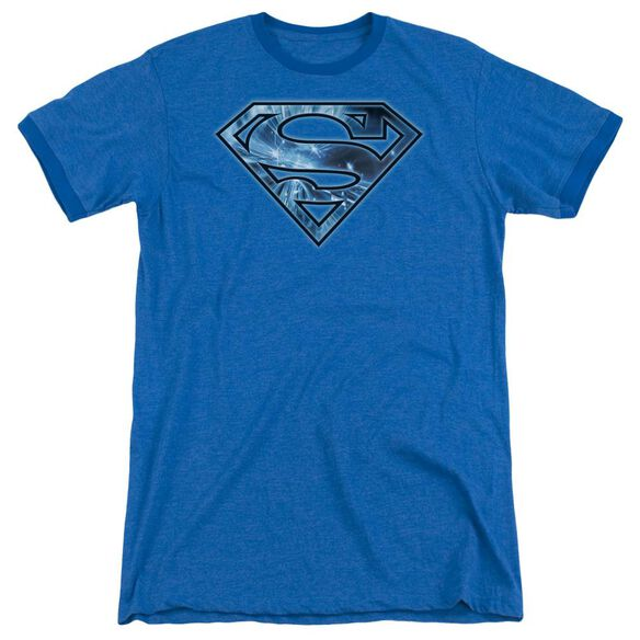 Superman On Ice Shield Adult Heather Ringer Royal Blue