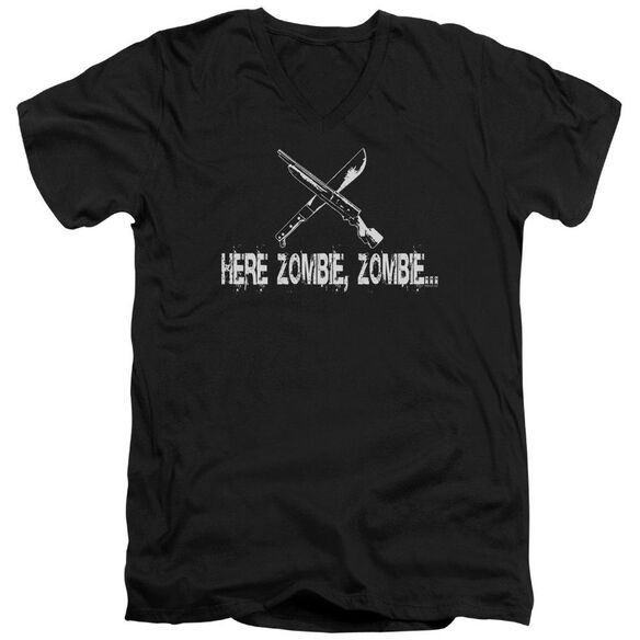 Here Zombie Zombie Short Sleeve Adult V Neck T-Shirt