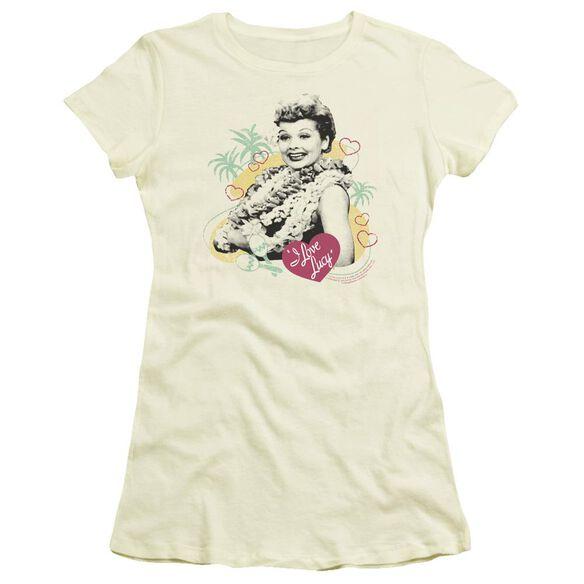 I Love Lucy Luau Graphic Short Sleeve Junior Sheer T-Shirt