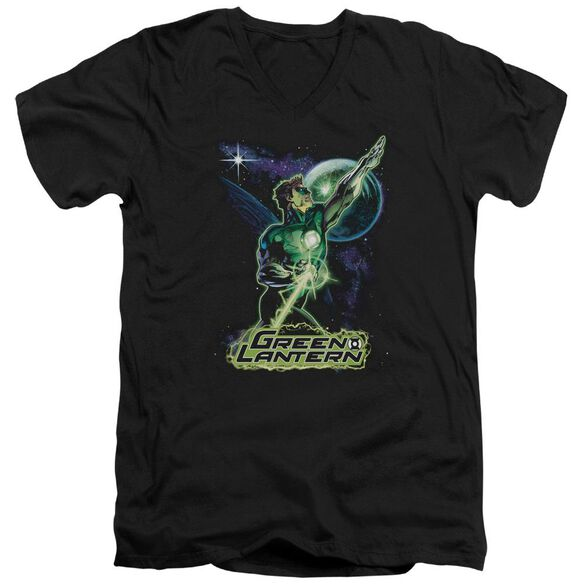 Jla Hal Galaxy Short Sleeve Adult V Neck T-Shirt