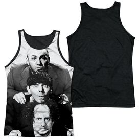 Three Stooges Three Stacked Adult Poly Tank Top Black Back