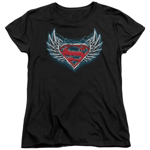Superman Steel Wings Logo Short Sleeve Womens Tee T-Shirt