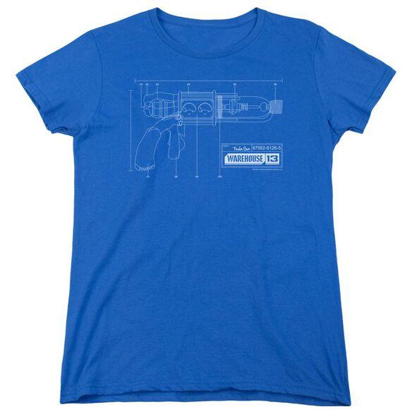 Warehouse 13 Tesla Gun Short Sleeve Womens Tee Royal T-Shirt