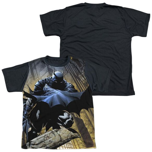 Batman In Shadow Short Sleeve Youth Front Black Back T-Shirt