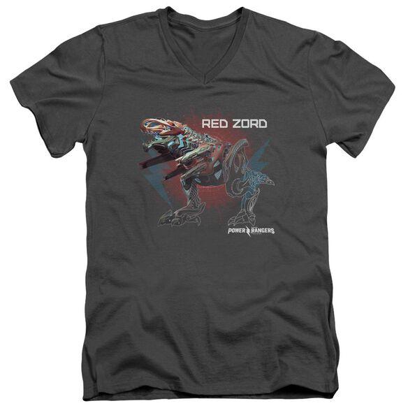 Power Rangers Red Zord Short Sleeve Adult V Neck T-Shirt