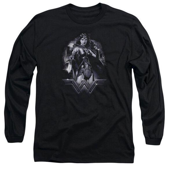 Batman Vs Superman Rainy Night Long Sleeve Adult T-Shirt