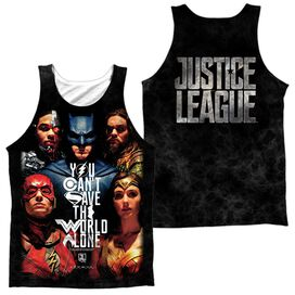 Justice League Movie Save The World Poster (Front Back Print) Adult Poly Tank Top