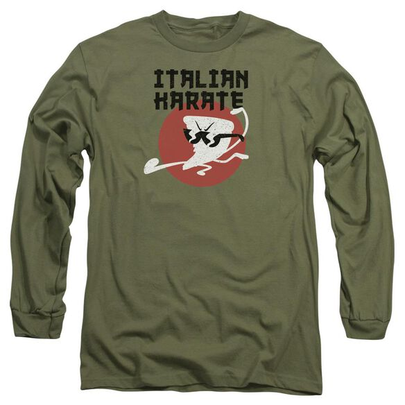 Uncle Grandpa Italian Karate Long Sleeve Adult Military T-Shirt