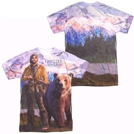 Grizzly Adams Man And Bear (Front Back Print) Short Sleeve Adult Poly Crew T-Shirt