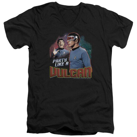 Star Trek Party Like A Vulcan Short Sleeve Adult V Neck T-Shirt
