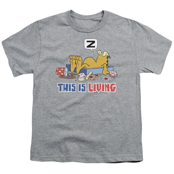Garfield This Is Living Short Sleeve Youth Athletic T-Shirt
