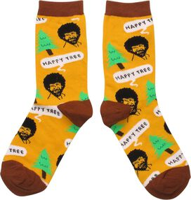Bob Ross Happy Tree Ladies Crew Socks