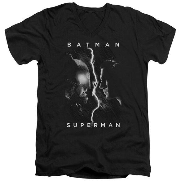 Batman V Superman Face To Face Short Sleeve Adult V Neck T-Shirt