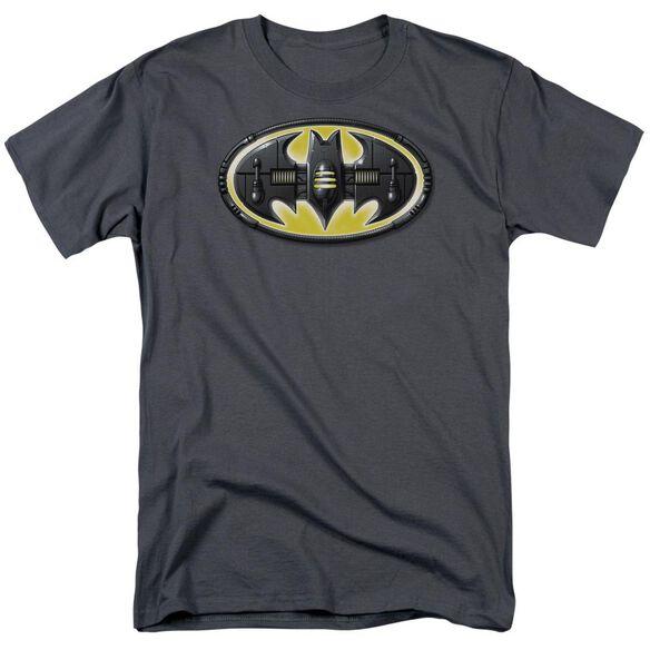 Batman Bat Mech Logo Short Sleeve Adult Charcoal T-Shirt