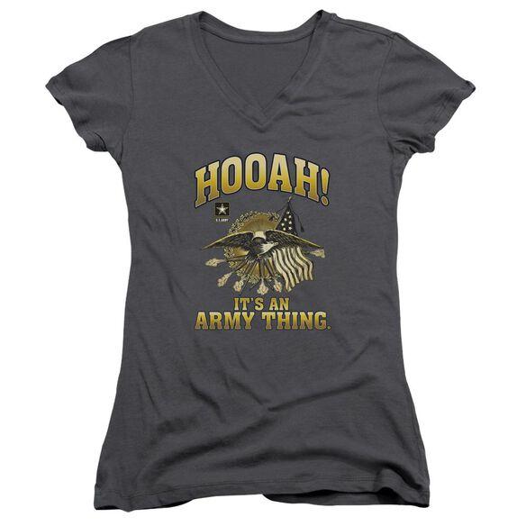 Army Hooah Junior V Neck T-Shirt
