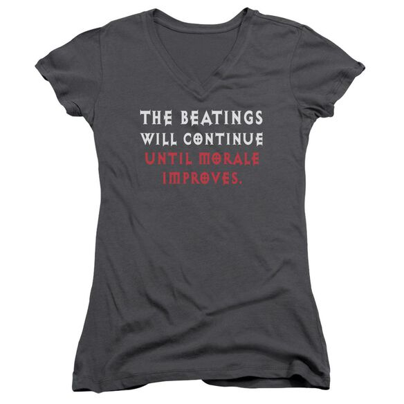 Improving Morale Junior V Neck T-Shirt