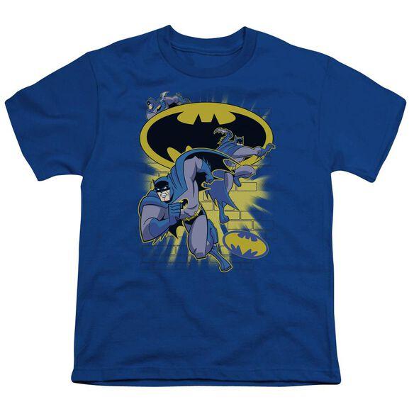 Batman Bb Action Collage Short Sleeve Youth Royal T-Shirt