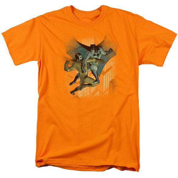 Batman Batman Vs Catman Short Sleeve Adult Orange T-Shirt