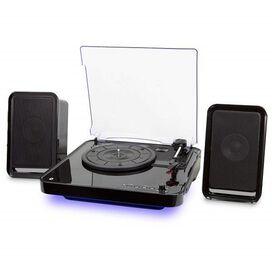iLive iTTB757B Wireless Turntable with Speakers, LED Lighting (Black)