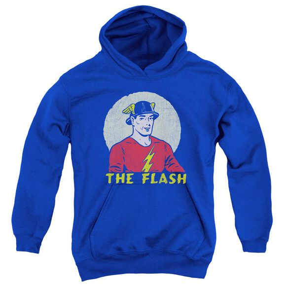 Dc Flash Faded Circle Youth Pull Over Hoodie Royal
