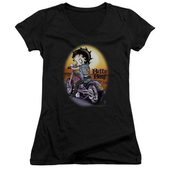 Betty Boop Wild Biker Junior V Neck T-Shirt