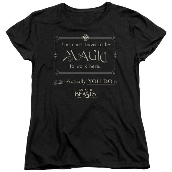 Fantastic Beasts Magic To Work Here Short Sleeve Womens Tee T-Shirt