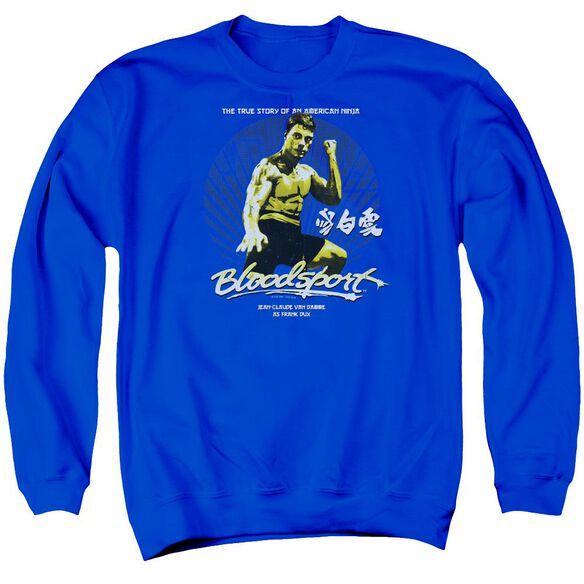 Bloodsport American Ninja Adult Crewneck Sweatshirt Royal