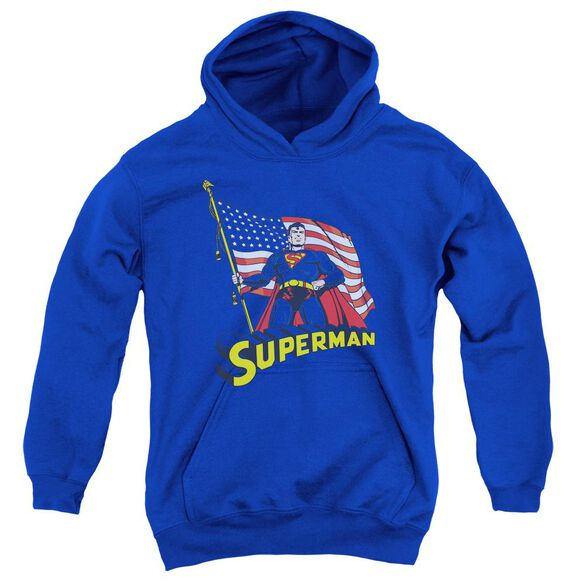 Superman American Flag Youth Pull Over Hoodie