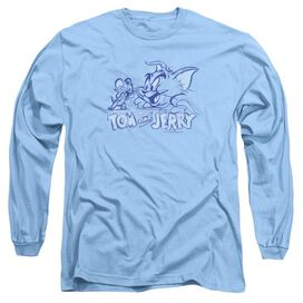 Tom And Jerry Sketchy Long Sleeve Adult Carolina T-Shirt