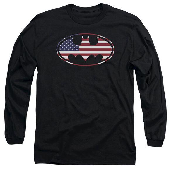 Batman American Flag Oval Long Sleeve Adult T-Shirt